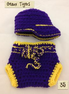 LSU Cap and Diaper Cover  made by Becky's Photoprops