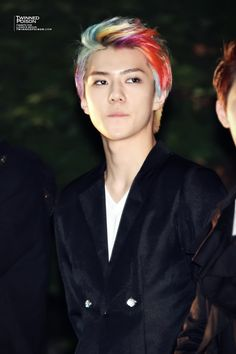 Sehun and his fabulous rainbow hair:)