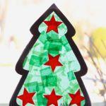 Tissue Paper Christmas Tree Craft Window Decorations - Kinder Craze