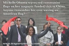 Ever see this POS wave our flag? She's a disgrace! This is the wife of the President of the United States of America! Anyone remember Hanoi Jane?