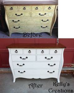 Wood top dresser painted white with light distressing before and after pictures. Refinished by Kelly's Creations.  https://www.facebook.com/pages/Kellys-Creations-Refinished-Furniture/524028237619793