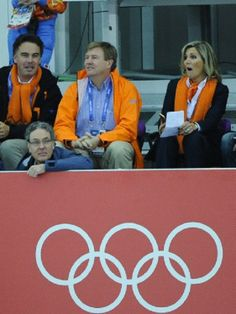 King Willem-Alexander of the Netherlands and Queen Maxima attend the Men's Speed Skating 5000m at the Adler Arena during the 2014 Sochi Winter Olympics on 08 Feb 2014.