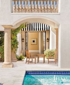 White and Cream Mediterranean Outdoor with Pool