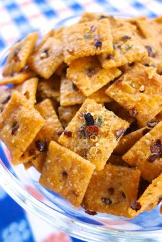Fire Crackerz {Football Friday} - 1/2 cup canola oil, 1 (1-oz) package Ranch dressing mix, 3-5 tsp red pepper flakes, 1 (13.7oz) box Cheez-Its. Preheat oven to 250. In a large bowl, mix together all ingredients. Spread crackers on large rimmed baking sheet. Bake for 15-20 minutes, stirring halfway through. Cool and store in resealable bag.