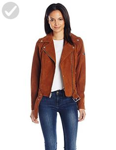 7 For All Mankind Women's Asymmetrical Zip Front Belted Suede Moto Jacket, Cognac, Medium - All about women (*Amazon Partner-Link)