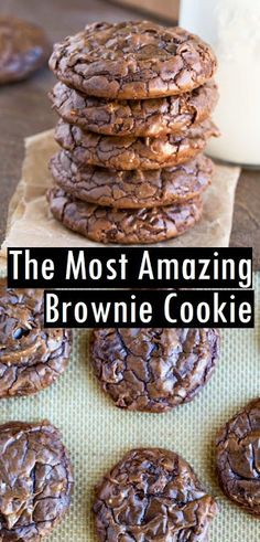 The Most Amazing Brownie Cookie - Food: Cakes & Sweets - # Brownie Plätzc . - The Most Amazing Brownie Cookie – Food: Cakes & Sweets – Brownie Cookies # - Easy Cookie Recipes, Sweet Recipes, Cookie Brownie Recipes, Easy Recipes, Cookie Flavors, Delicious Cookie Recipes, Cokies Recipes, Brownie Desserts, Monster Cookie Recipes