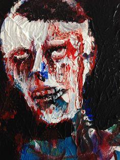 "Zombie Art Card , , Acrylic original  ,ACEO  jack larson 3.5""x2.5""  #Abstract"