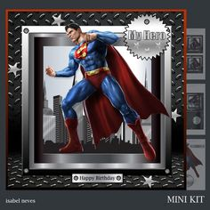 My Hero 3 - Mini Kit Includes: Card Front, Mini Print & Fold Card, Card Insert, Decoupage, Several Sentiment Tags, Tiles and Preview Superman, Batman, Hero 3, Card Card, Paper Cards, Cardmaking, Decoupage, Tiles, Happy Birthday