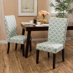 Aurora Fabric Geometric Print Dining Chair (Set of 2) by Christopher Knight Home (Khaki), Tan (Cotton)