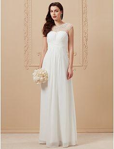 A-vonalú Ékszer Földig érő Sifon Esküvői ruha val vel Gyöngydíszítés Cakkos által LAN TING BRIDE®
