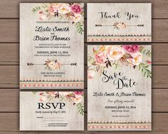 Floral Wedding Invitation Printable Boho Chic Wedding Invitation Suite Bohemian Wedding Invite Rustic Wedding Spring / Summer Wedding by PrintableStyles on Etsy