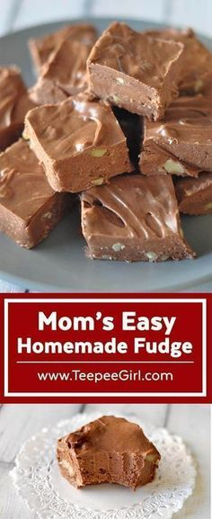 My mom has been making this fudge for as long as I can remember. It's creamy, decadent, and best of all, easy! Get the recipe at www.TeepeeGirl.com. #fudge #easyfudgerecipe #christmasfood