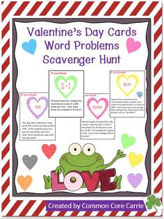 This product includes a variety of sixteen Valentine's Day word problems. The following concepts are incorporated on the cards: fractions, decimals, percents, calculating time, measurement conversions, probability and average (mean). The problems were written with a Valentine's day theme.  Some questions involve a bit of history and facts about Hershey's kisses, New England Confectionary Company (NECCO), conversational hearts and the human heart. An answer document and key are provided.