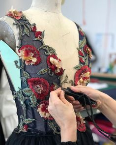 Hand embroidered detailing from the Marchesa atelier of the Fall/Winter 2018 collection. #marchesa #fw18marchesa #bts