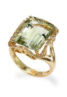14K Yellow Gold Green Amethyst and Diamond Ring, 10.14 TCW