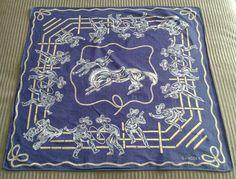 COWBOY RODEO Bandana SWAGGER Scarf Neckerchief VINTAGE 1950S Western Blue #Swagger #WesternBandana