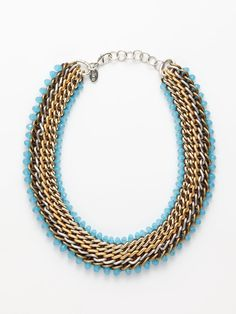 two tone woven chain necklace by cara couture jewelry
