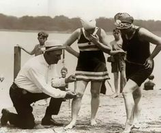 it wasn't only women who bore the wrath of the modesty police. Men were also susceptible, and it wasn't until 1937 that males were allowed to go topless on a beach.