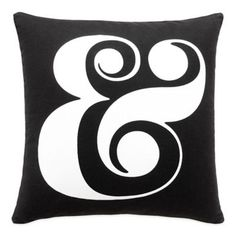 kate spade new york Ampersand Square Throw Pillow in Black - BedBathandBeyond.com