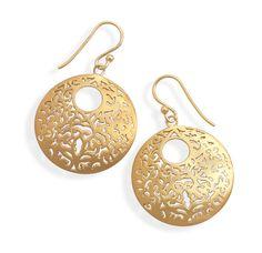 Brushed 14 Karat Gold Plated Earrings