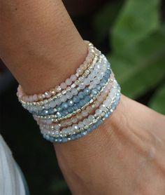 Sandy crystal memory wire bracelet, Boho Wrap Bracelet, Beadwork bracelet #bracelets