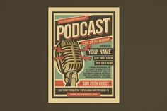 Podcast Retro Event Flyer by Muhamad Iqbal hidayat on @creativemarket Flyer Design Templates, Flyer Template, Find Fonts, Creative Flyers, Business Card Design, Color Change, Indie Music, Typo, Retro Vintage