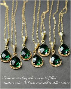 Bridesmaid Wedding Bridal Jewelry Bridesmaid Jewelry-Bridesmaid gifts, emerald green , peacock wedding jewelry ,drop dangle necklace
