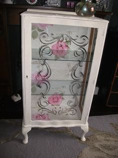 Shabby chic vintage display cabinet cream paint with pink rose | eBay