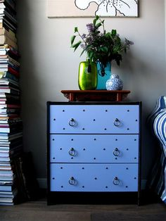 RAST hack: except I would do it with a stained outside and white drawers. Love the nailheads and brass handles!