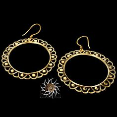 Brass Earrings - Gypsy Earrings - Ethnic Earrings - Brass Jewelry - Ethnic Jewelry - Gypsy Jewelry - Statement Jewelry  Beautiful hand made brass earrings.  Suitable for normal ear piercing.  Length: 58 mm Width: 45 mm Bar size: 0.9mm Nickel free!  sold as pair only!  $20