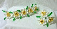 Narcissus kanzashi set by ImlothMelui on Etsy, $125.00