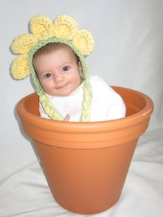 Yellow Daisy Baby Bonnet photography prop by mandag433 on Etsy, $18.00