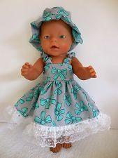 """BABY BORN 17"""" DOLLS CLOTHES AQUA/GREY SUMMER OUTFIT"""