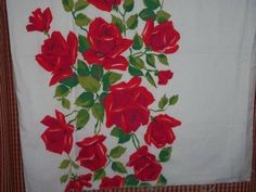 Vintage Feedsack Roses Red leaves opened cottage chic quilt sewing cotton ex