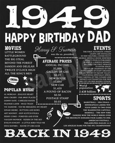 1949 Fun Facts 1949 Birthday Poster For Husband Gift