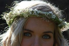 boho floral crown , woodland wedding, white flower crown , bridal flower crown, rustic floral crown , grass flower crown. $65.00, via Etsy.