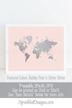 Silver Glitter World Map Wall Art Print - Bubbly Pink Gray Printable Baby Girl Nursery Art, Little Girl Room Decoration Kids Room Art Print