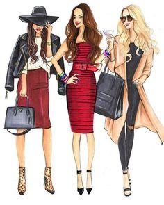 Fashion Illustration♦️Houston Fashion Illustrator ♦️As Seen In- Vogue,InStyle ♦️Clie. Illustration Mode, Fashion Illustration Sketches, Fashion Sketches, Winter Fashion Outfits, Trendy Fashion, Girl Fashion, Vogue Fashion, Fall Outfits, Mode Poster