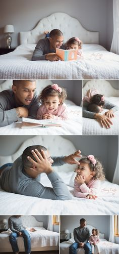 lifestyle family session, daddy daughter moments, reading a book together, capture these candid moments they will treasure! Lots of great ideas for posting families in lifestyle sessions.