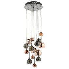 Dar Aurelia 15 Light Spiral Pendant (AUR1564) with Bronze, Copper and Dark Copper Glass Shades