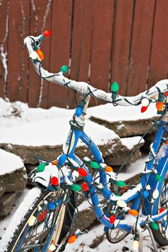 Christmas Decorating Ideas Old bike? Wrap it in Christmas lights for the cheapest, most unique yard ornaments on the block!Old bike? Wrap it in Christmas lights for the cheapest, most unique yard ornaments on the block! Noel Christmas, Winter Christmas, Christmas Lights, Vintage Christmas, Christmas Ornaments, Christmas Cards, Christmas Mantles, Cabin Christmas, Victorian Christmas