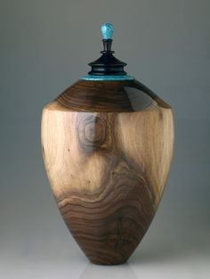 Walnut & Turquoise Vessel or Urn by woodnvessel on Etsy, $675.00