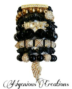 N'Genious Creations Exclusive All Black Everything Bracelet Set by NGeniousCreations, $65.00