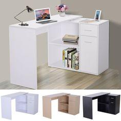 White Corner Desk, White Desk Office, Home Office Setup, Home Office Design, Home Interior Design, Diy Corner Shelf, Bedroom Setup, Room Design Bedroom, Room Ideas Bedroom