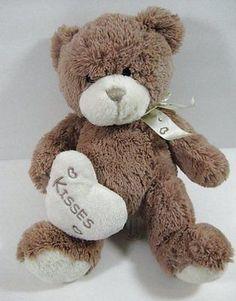 "Tan Cream BEAR Valentine Plush Soft Kisses Heart 13"" Bestmade Toys B270"