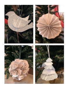 Book Page Christmas Ornaments (some of these could be cute DIY crafts to hang up any time of year!)