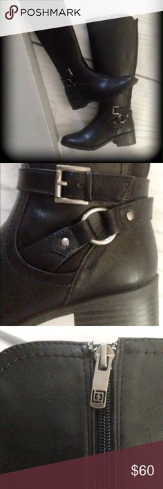 Tall black boots Very nice tall boots with buckle design Liz Claiborne Shoes Heeled Boots