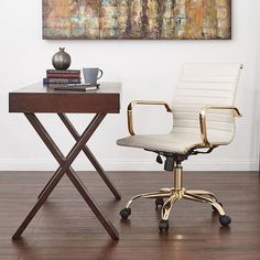 Simple elegance for glam home office style. Office Star, Home Office, Inviting Home, Simple Elegance, Drafting Desk, Warm, Photo And Video, Chair, Offices