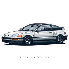 Honda Crx, Honda Civic, Civic Jdm, Vtec Engine, Honda Type R, Jdm Wallpaper, Car Illustration, Illustrations, Kei Car