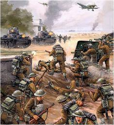 Flames of War - Evacuación de lo mejor del ejército británico: la BEF (Fuerza Expedicionaria británica) de Dunkerque dando pelea a unos Panzer 35(t), posiblemente del 25. Panzer-Regiment, 7. Panzer-Division, mayo-junio de 1940. Vincent Wai. http://www.elgrancapitan.org/foro/viewtopic.php?f=12&t=17519&p=916421#p916379